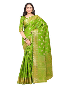 Mimosa uppada art silk saree with unstiched blouse - olive