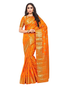 Mimosa uppada art silk saree with unstiched blouse - orange