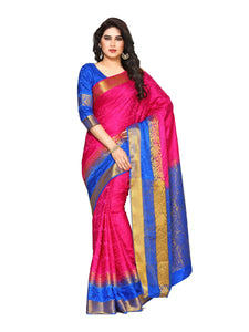 Mimosa uppada art silk saree with unstiched blouse - pink