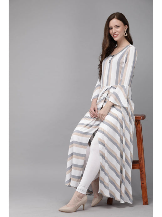 Mimosa white color striped round neck a-line dress for women