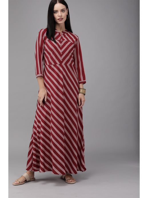 Mimosa women maroon & white striped maxi dress - s