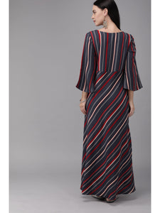 Mimosa women navy blue & red striped maxi dress