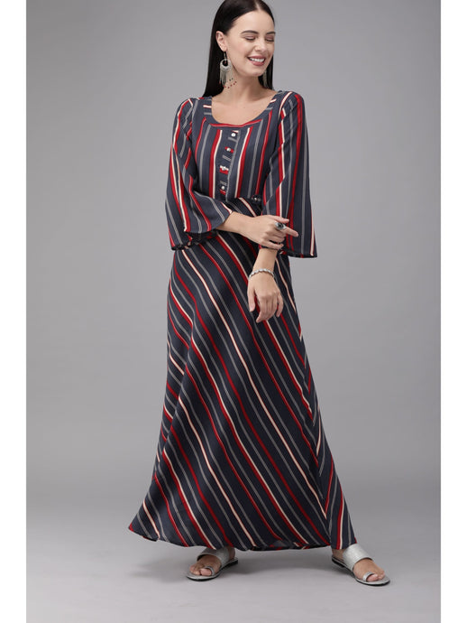 Mimosa women navy blue & red striped maxi dress - s