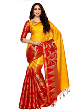 MIMOSA Lotus Flower Design Art Silk Kanjivaram Style Saree with Blouse in Color Gold and Red (4054-247-hh-gld-rd) - kupindaindia