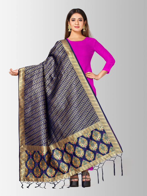 Mimosa women's banarasi art silk dupatta color: navy
