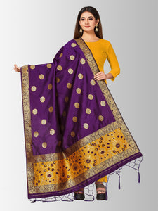 Mimosa women's banarasi art silk dupatta (purple)