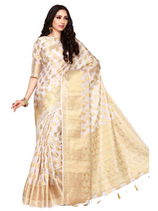 MIMOSA Motif Pattern Art Silk Kanjivaram Style Saree with Blouse in Color Off White (4085-227-hwt) - kupindaindia