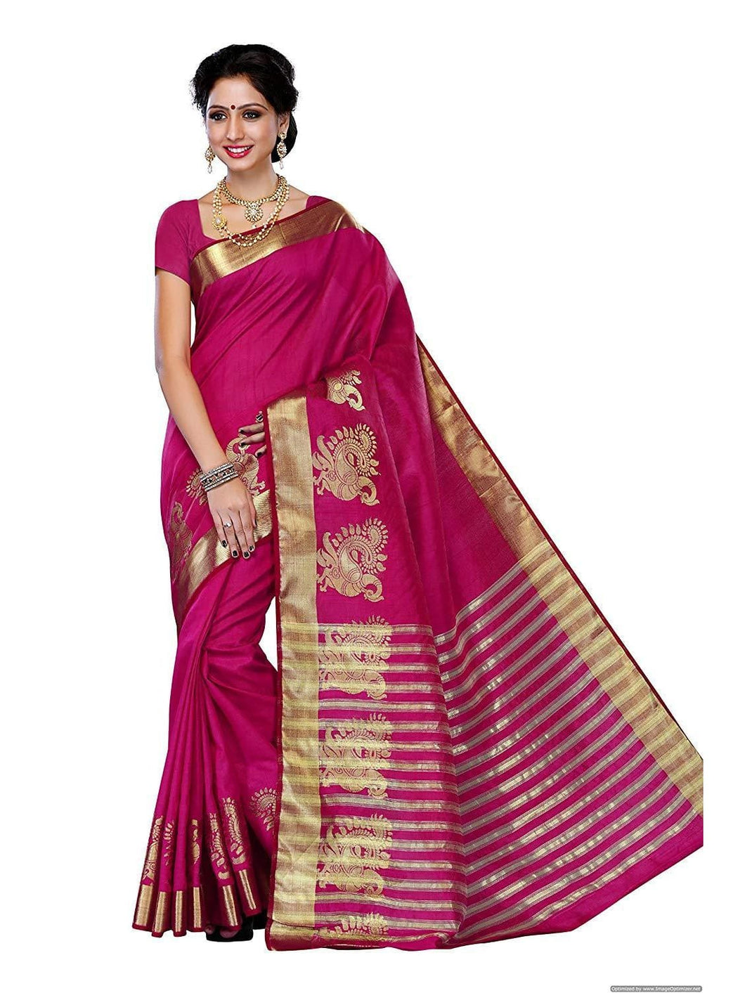 Mimosa women's tassar silk saree with blouse