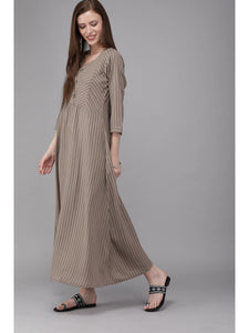 Women khaki & black striped maxi dress