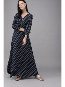 Women navy blue & white striped maxi dress - s