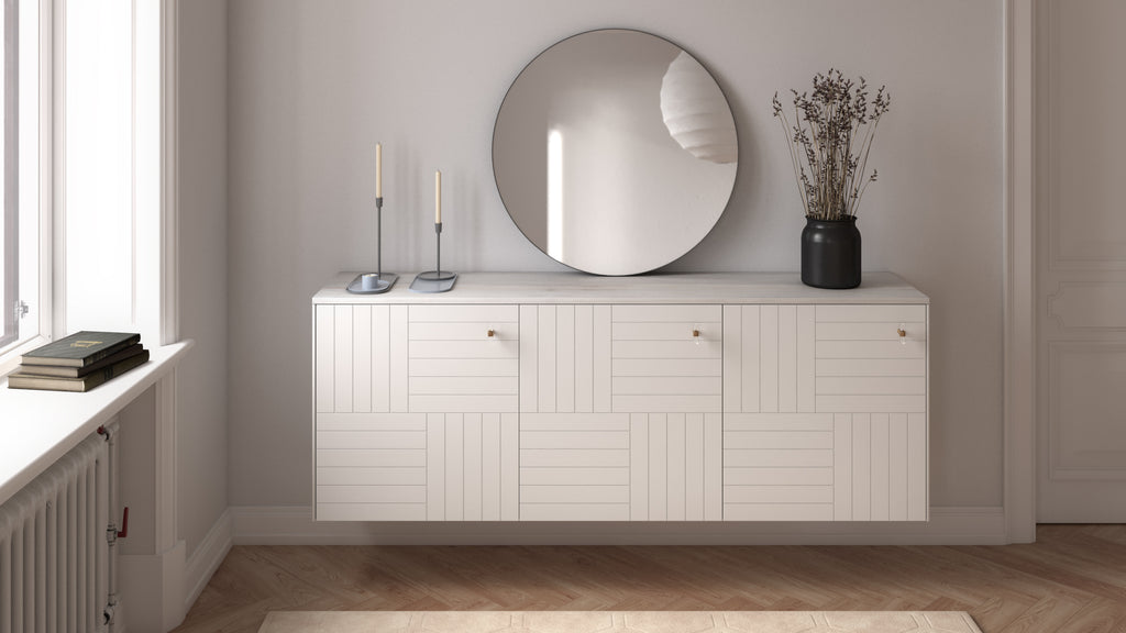 Sideboard Besta with Marie doors in White Lace and Ambrosia Maple wood top Norse 1024x1024