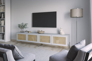Cane doors on Besta TV stand from IKEA