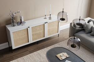Cane doors with raw finish IKEA Besta cabinet