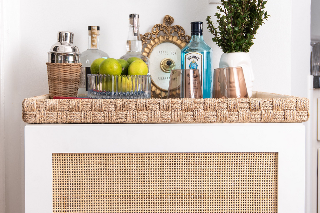 Cane single door in white lace on a Besta frame turned into a home bar