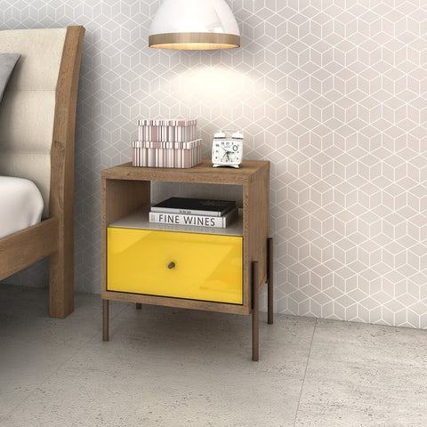 Wooden nightstand with PVC bottom drawer in yellow