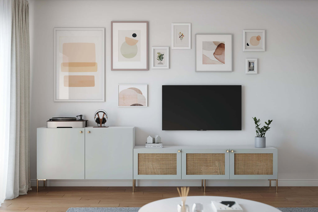 Cane and Amelia doors in Silver Sage on Besta TV stand