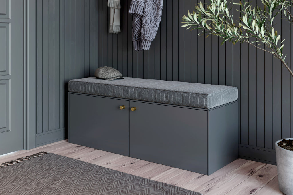 Gray Amelia doors on Besta bench IKEA