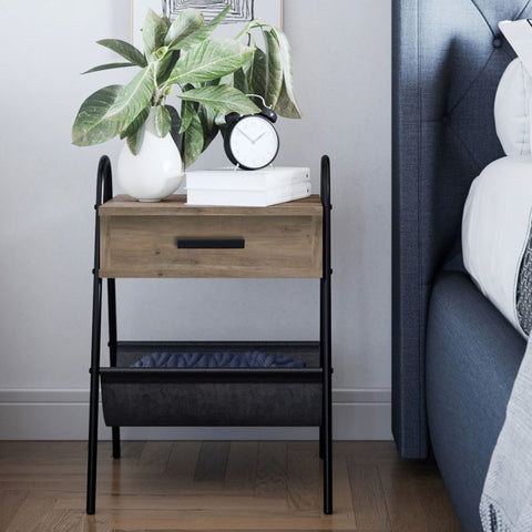 Nightstand with wooden drawer and mesh hammock