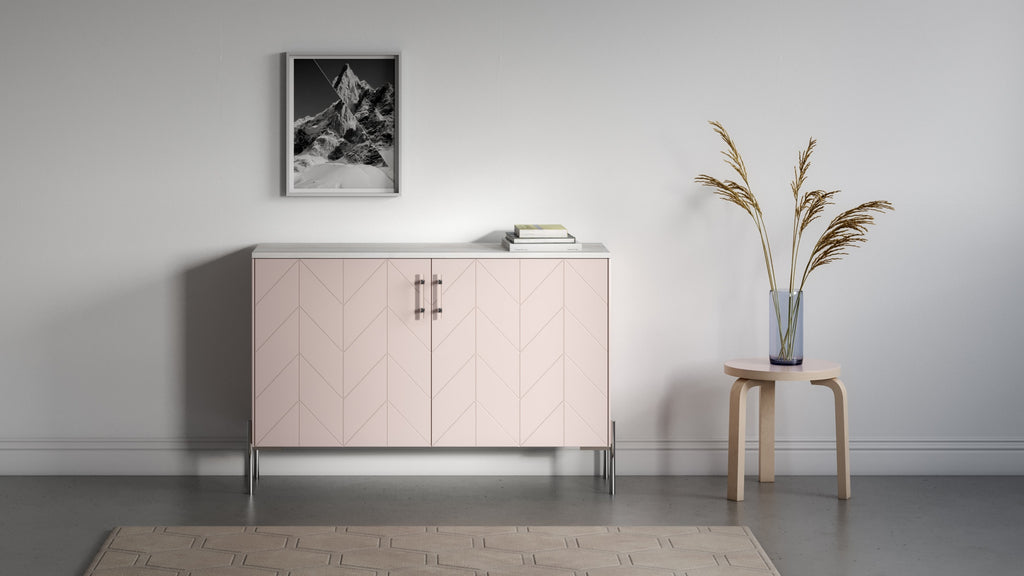 Credenza Besta with Eleanor doors in Pale Mocha, Ambrosia Maple wood top, Sara legs and Kristina pulls in chrome