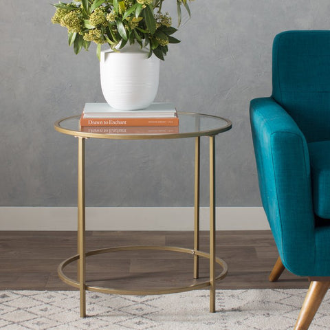 rounded glass and metal side table