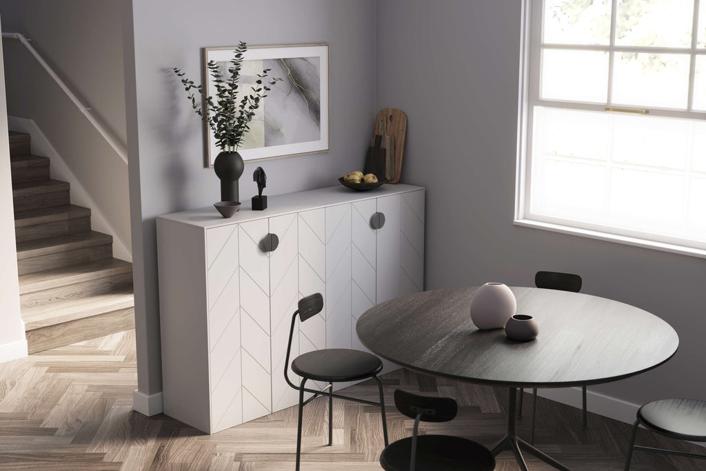 Eleanor doors and panels in Perfect Gray Sektion sideboard IKEA