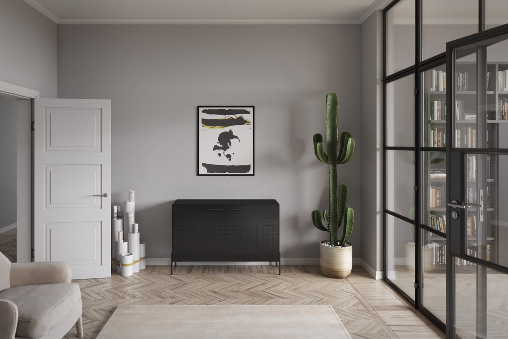 Charcoal black Credenza with black legs