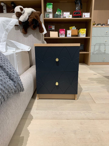 IKEA malm nightstand with Joan drawer front in charcoal black on display at Batch
