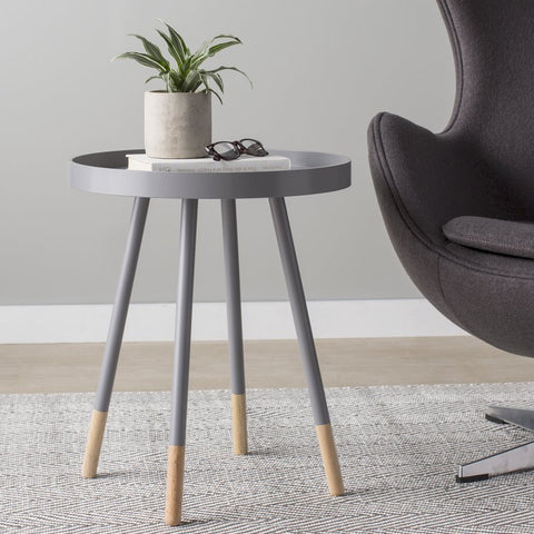 Circular gray nightstand with raised rim