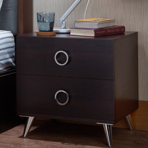 Modern nightstand with chrome handles
