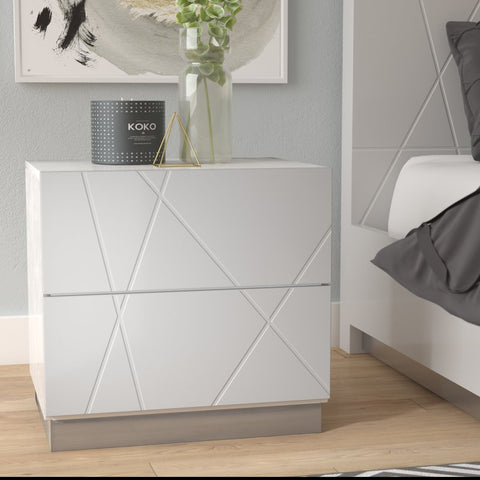 White nightstand with abstract pattern