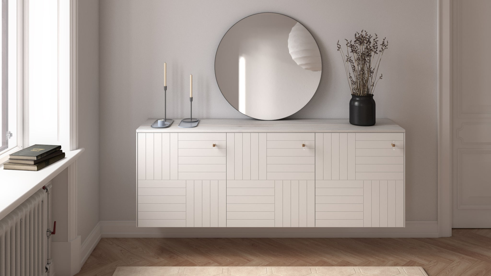 Norse Interiors Marie doors on an IKEA Besta sideboard with chrome hardware