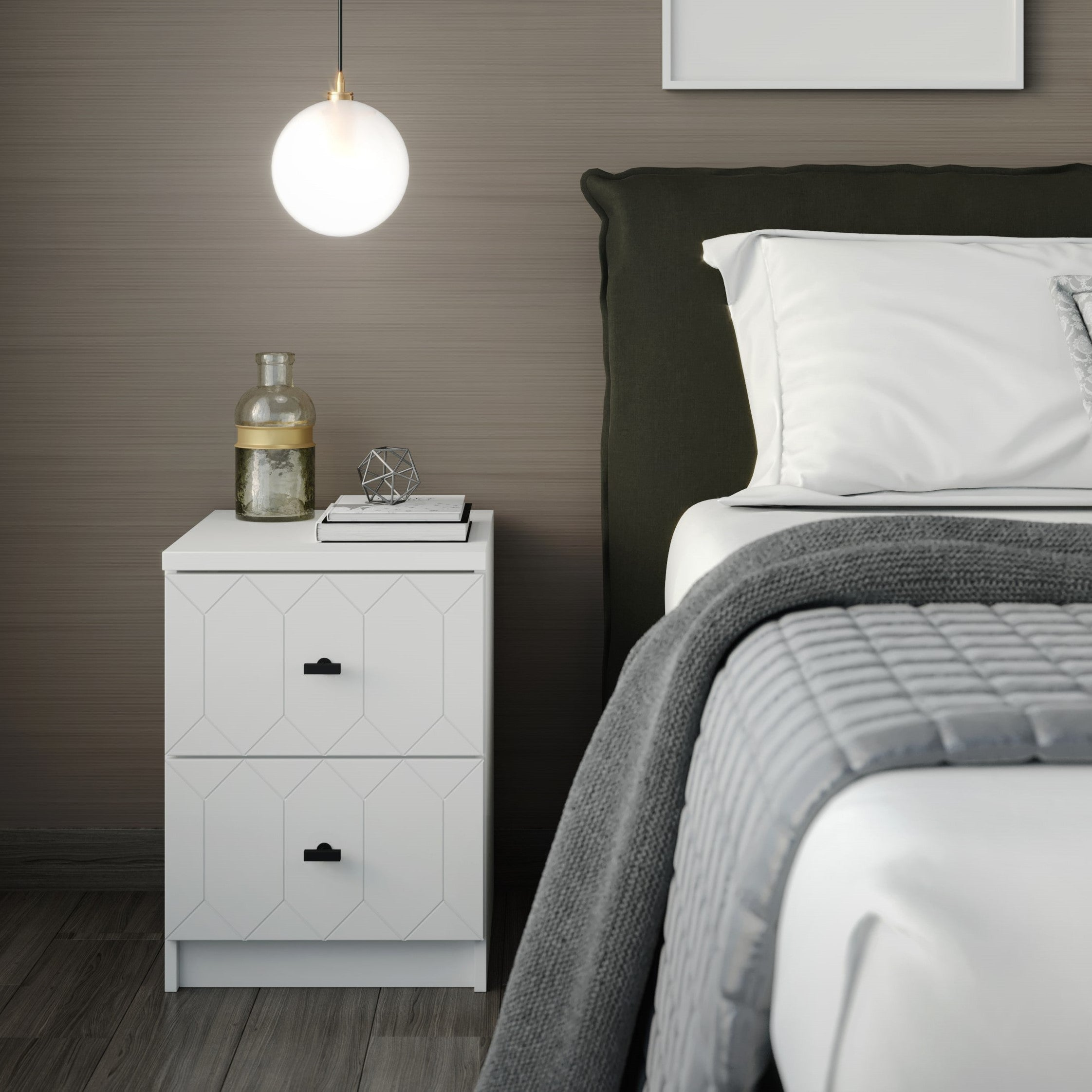 Nightstand Drawer Front Susan Pale Mocha IKEA Malm White Chrome Knob Kristina