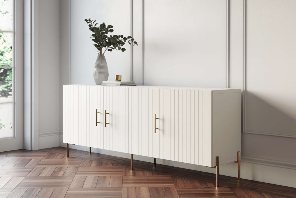 Besta sideboard with white custom doors