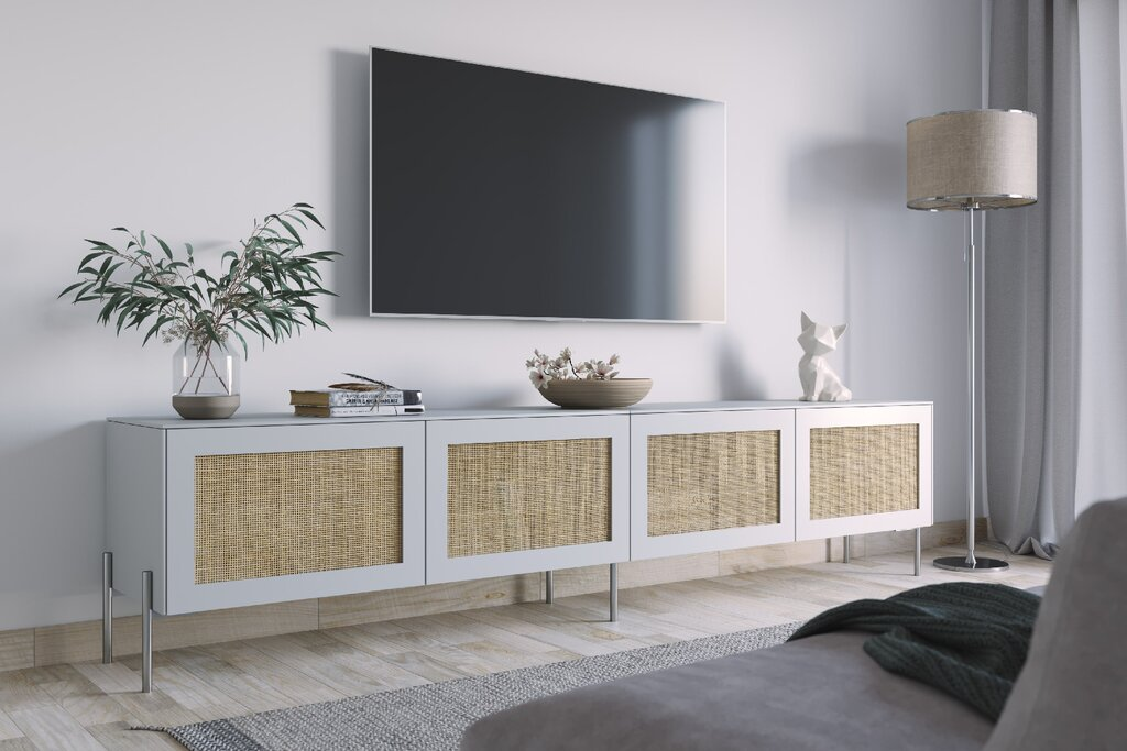 """Cane doors in silver sage on a 15"""" IKEA Besta frame used as a media stand."""