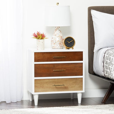 Three drawer nightstand with different colored drawers