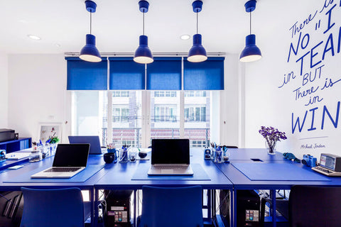 office space color blue design