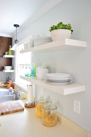 Floating Lack shelves in a kitchen