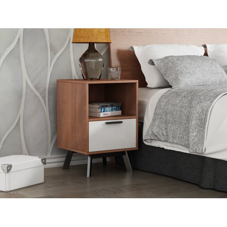 Wooden one drawer nightstand with white drawer