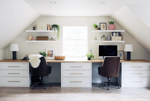 Custom desk for two using three Hemnes dressers and wooden countertops