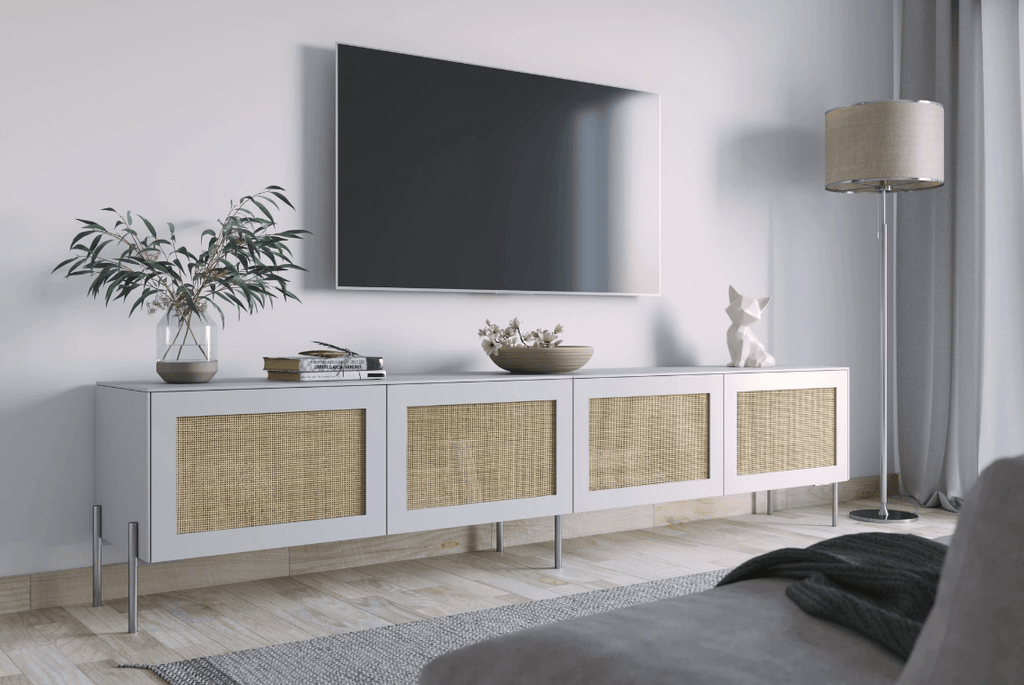 Besta TV stand with cane doors