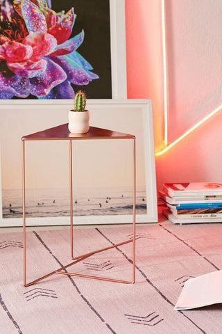 Metallic Rose gold triangle nightstand