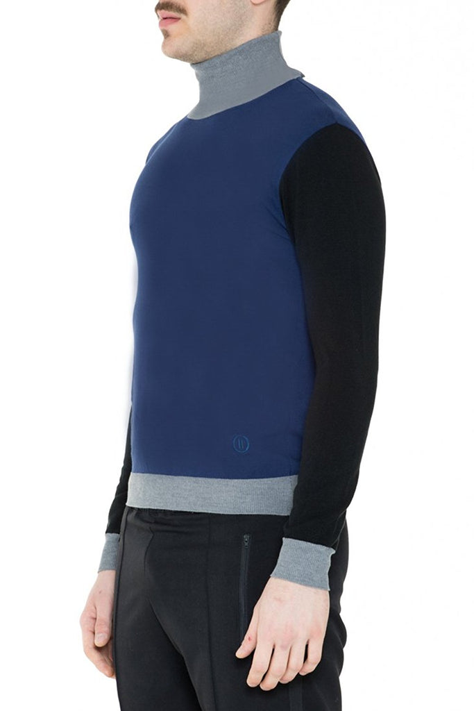 BRIIT Colour Block Roll Neck Jumper with Embroidered Logo