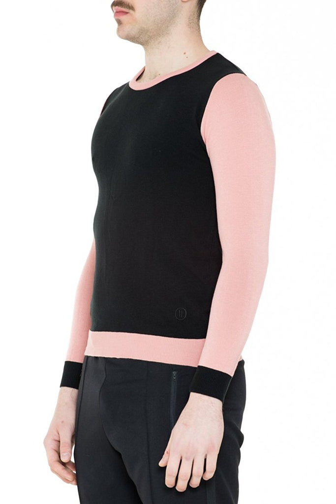 BRIIT Colour Block Round Neck Jumper with Embroidered Logo