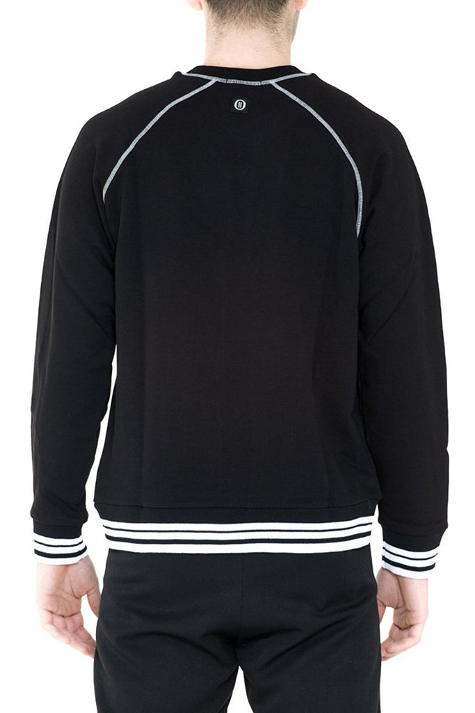 BRIIT Raglan Sleeve Sweatshirt with Knitted Detail and Contrasting Stitching