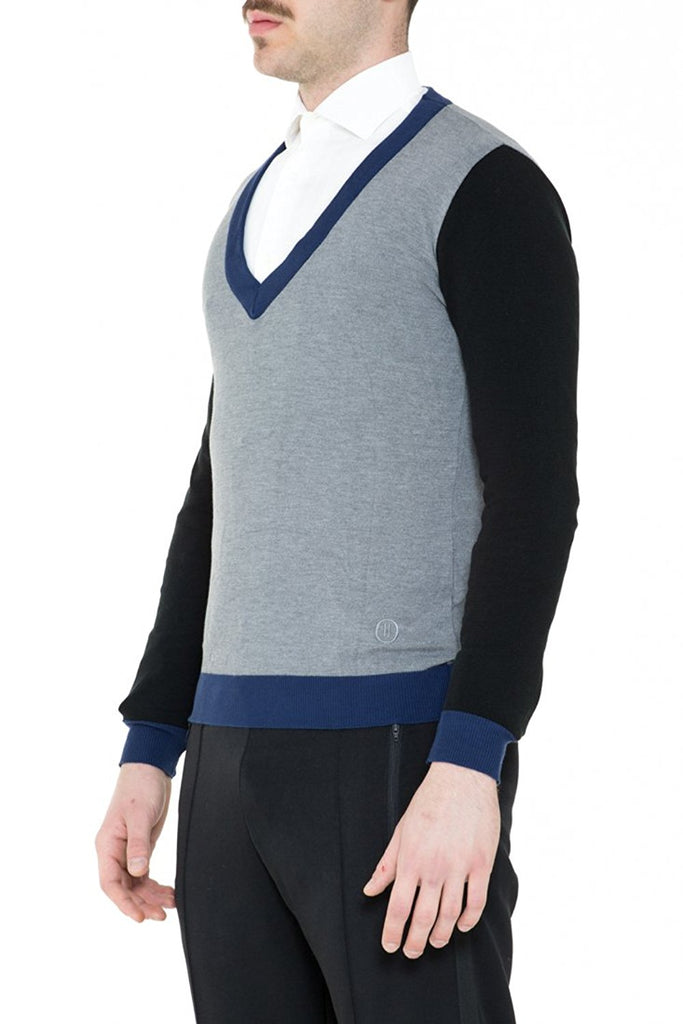 BRIIT Colour Block, Deep 'V' Neck Jumper with Embroidered Logo