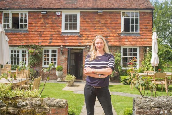 Jodie Kidd and her pub, The Half Moon in Kidford