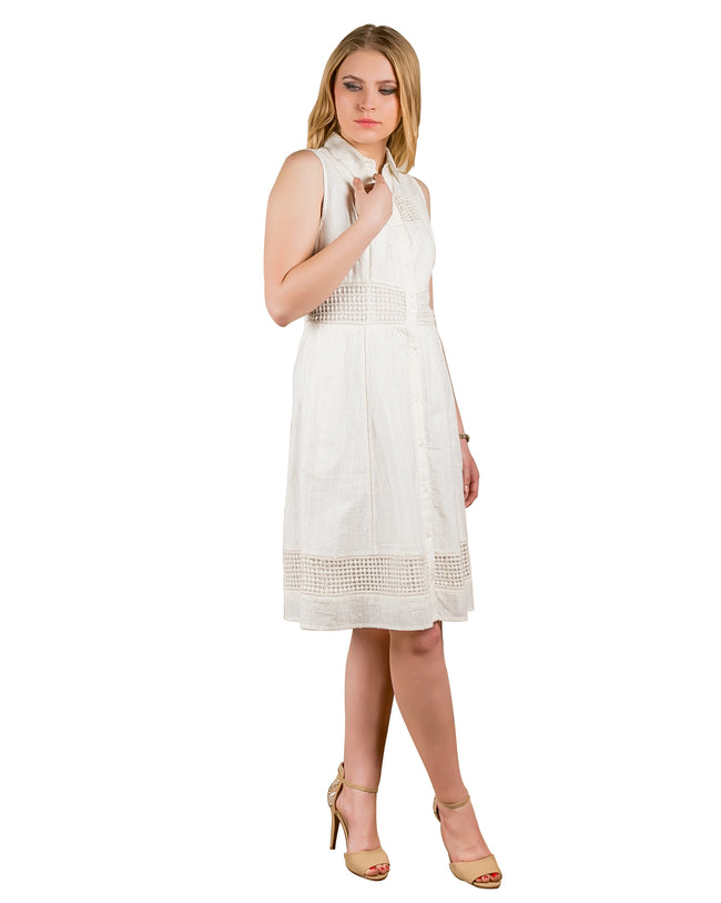 Ethereal Buttondown Skater Girl Midi Dress