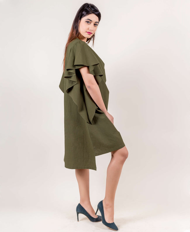 Khaki Casual Lounging Dress