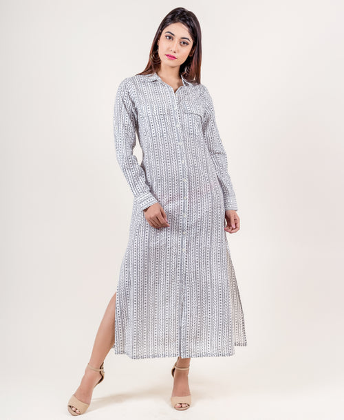 Collared Striped Cotton Shirt Dress In White