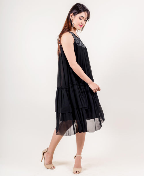 Black Gathered Tier Tea Length Dress
